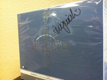 An Aleksandra Wozniak-signed USANA HealthPak.