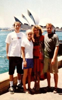 Dax Ross, Sharlie Kaltenbach, Collette Larsen, and Zak Ross building their business in Australia in 1998.