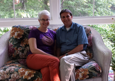 Robin and Kent Thomas enjoy some time in their new sun room.