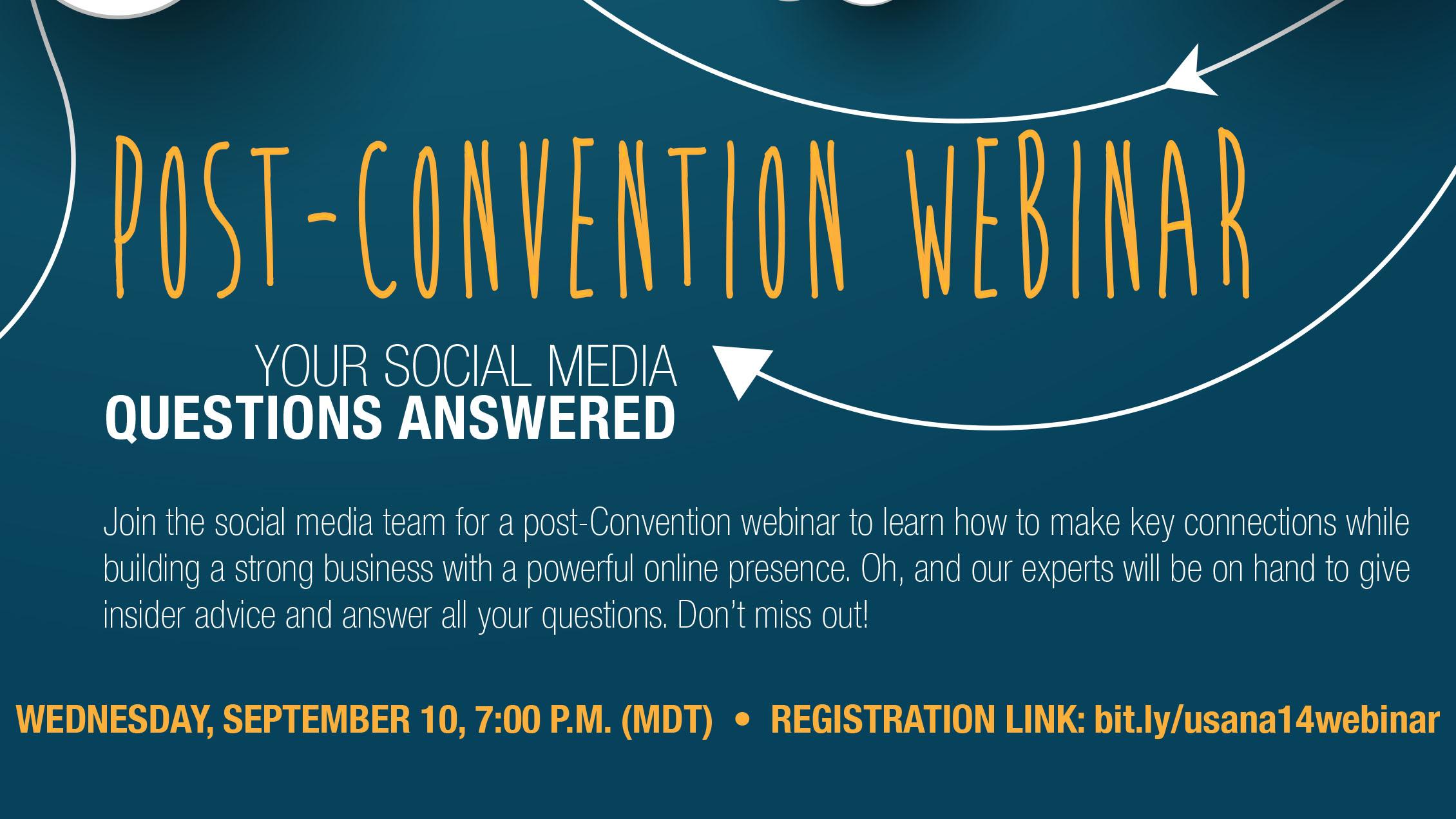 Post-Convention Social Media Webinar Flyer #USANA14